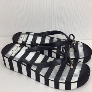 Kate Spade Rhett Striped Wedge Platform Sandals 8